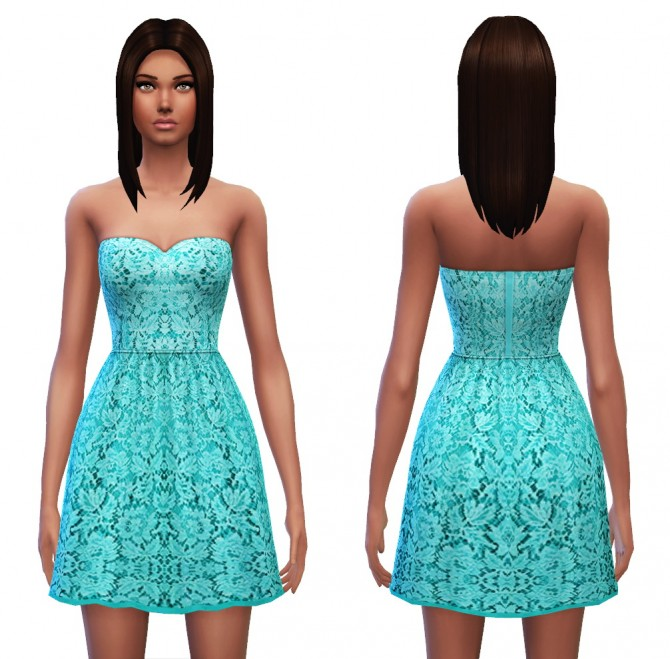 Strapless dress 7 designs at Sim4ny image 403 Sims 4 Updates