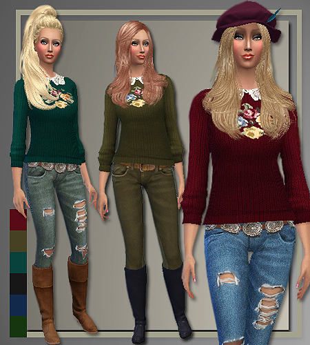 Fall 2014 sweaters, jeans and coat at All About Style image 4100 Sims 4 Updates