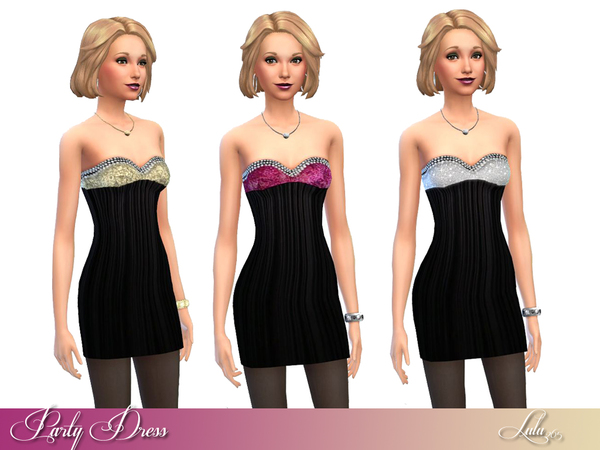Sims 4 Party Glitter Dress by Lulu265 at TSR