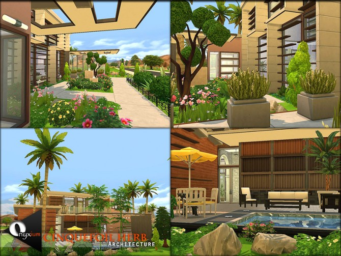 Sims 4 Cinquefoil Herb house by Onyxium at TSR