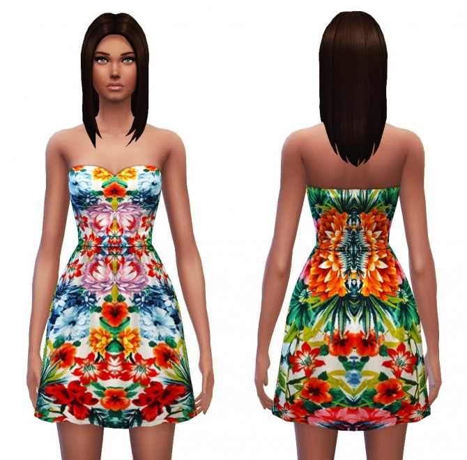 Strapless dress 7 designs at Sim4ny image 433 Sims 4 Updates