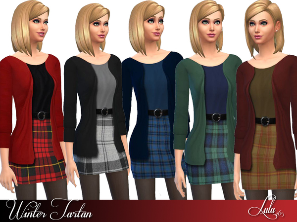 5 Winter Tartan outfits by Lulu265 at TSR image 4361 Sims 4 Updates
