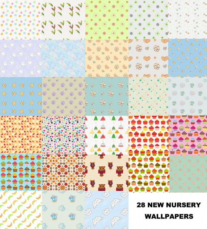 Sims 4 Set of 28 new nursery wallpapers by malicieuse75 at Mod The Sims