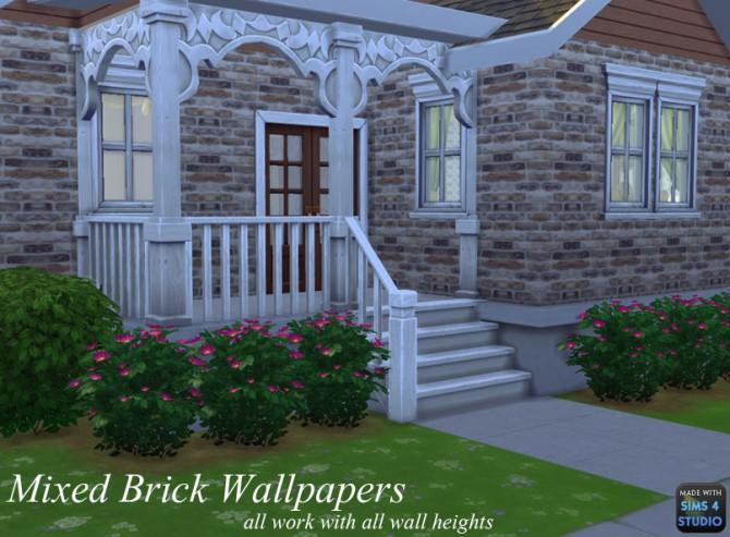 Sims 4 Mixed Brick Wall Set by mustluvcatz at Mod The Sims