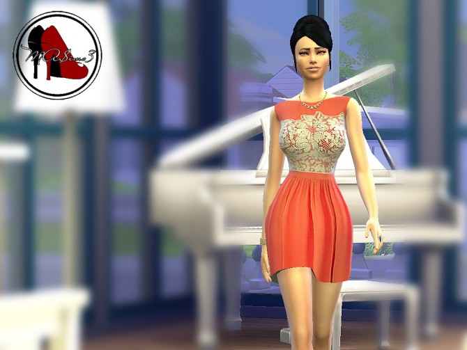 Sims 4 Orange Lace Dress by MrAntonieddu at MA$ims3