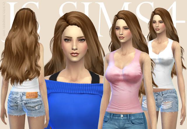 Tank Top Clothing & Ripped Shorts at JS Sims 4 image 4917 Sims 4 Updates