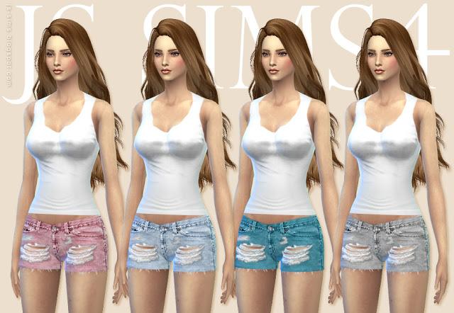 Tank Top Clothing & Ripped Shorts at JS Sims 4 image 51211 Sims 4 Updates