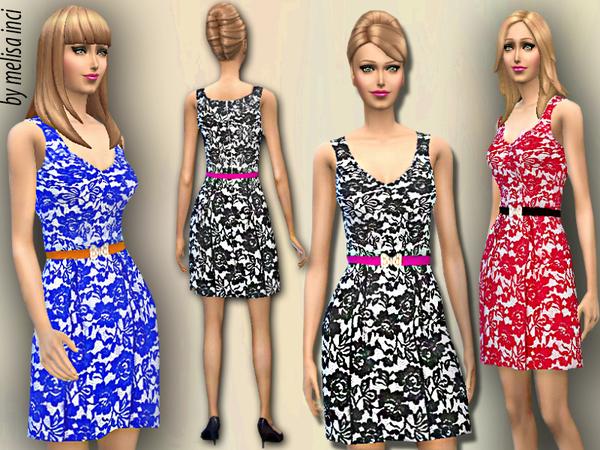 Sims 4 Halter Lace Dress by melisa inci at TSR