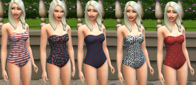 Sims 4 Retro One Piece Swimsuit by melbrewer367 at Mod The Sims