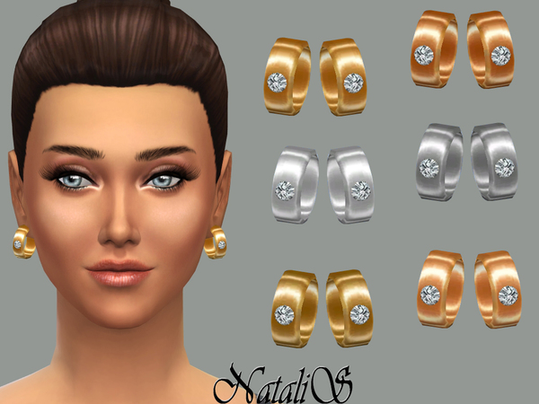 Sims 4 Earrings with crystal by NataliS at TSR