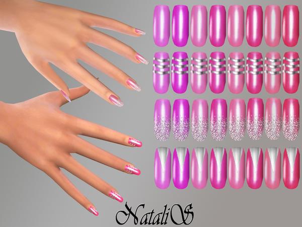 Sims 4 Silver design nails by NataliS at TSR