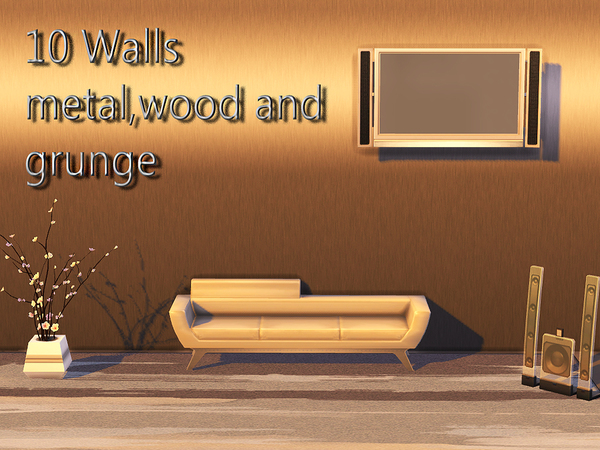 10 Walls metal, wood and grunge by Pinkzombiecupcakes at TSR image 560 Sims 4 Updates