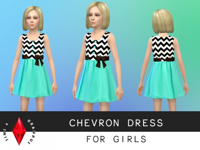 Sims 4 Turquoise and chevron dress at Sims 4 Krampus