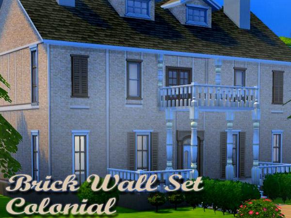 Sims 4 Colonial Brick Wall Set by Waterwoman at Akisima
