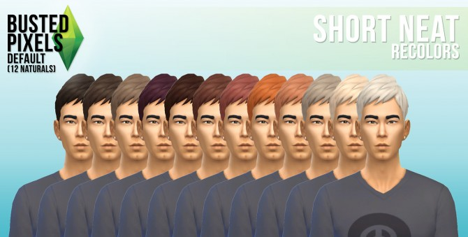 Sims 4 Short Neat hair recolors at Busted Pixels