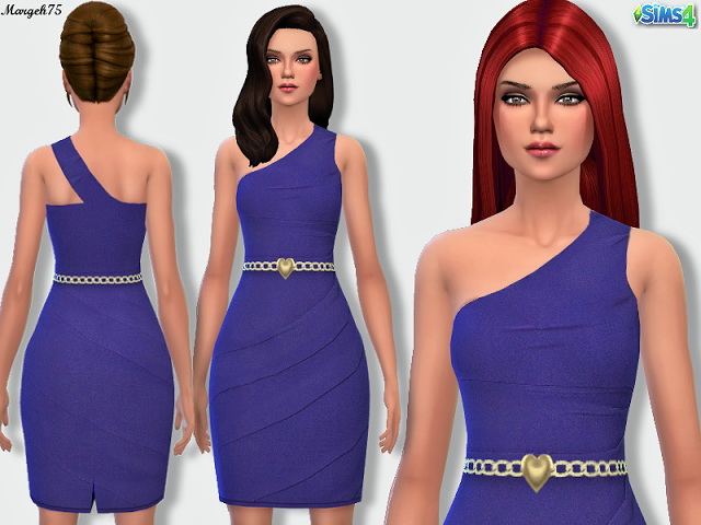 Sims 4 One Shoulder Dress by Margie at Sims Addictions