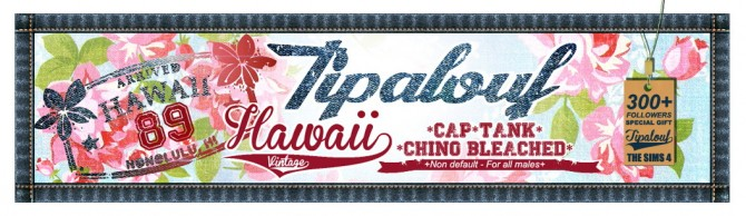 Sims 4 Hawaii Vintage Tank + Chino Bleached + Cap at Tipalouf