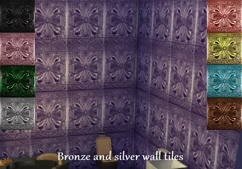 Bronze and silver wall tiles at Trudie55 image 67 Sims 4 Updates