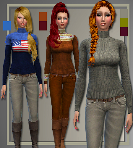 Fall 2014 sweaters, jeans and coat at All About Style image 670 Sims 4 Updates