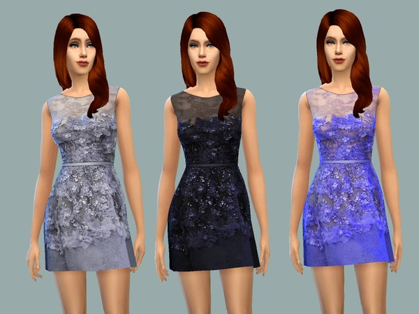 Sims 4 Effie dress by April at TSR