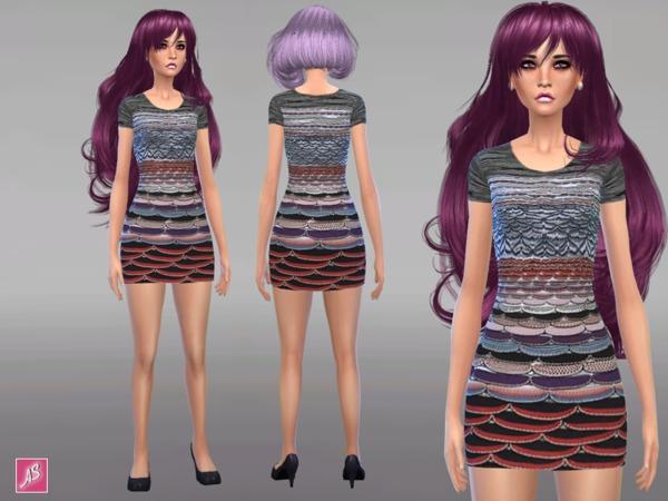 Scallop Mini Dress by Alexandra Sine at TSR image 7 Sims 4 Updates