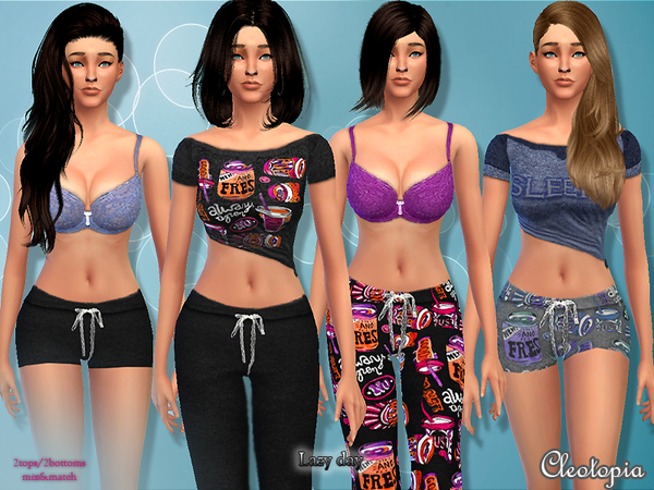 Sims 4 Lazy Day PJ set by Cleotopia at TSR