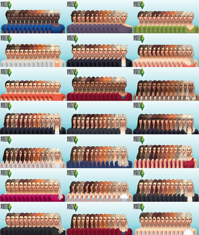 Sims 4 Female Natural Hair Recolors into one package at Busted Pixels