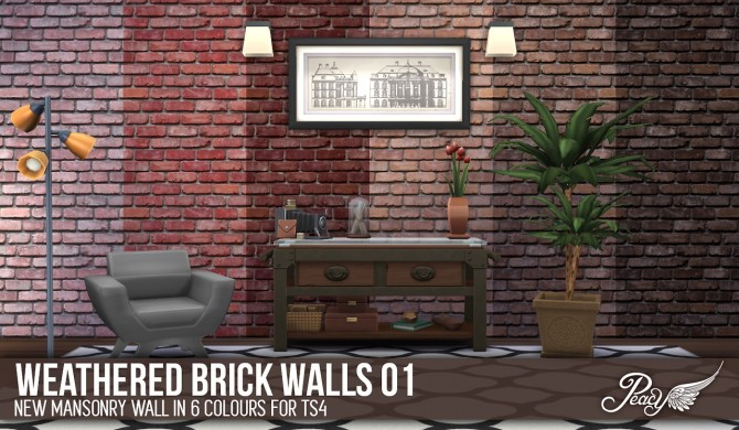 3 weathered brick patterns and 6 decorative wallpapers at Simsational Designs image 737 Sims 4 Updates