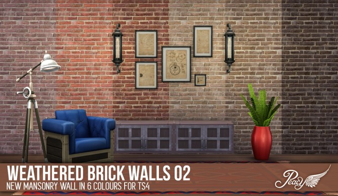 3 weathered brick patterns and 6 decorative wallpapers at Simsational Designs image 746 Sims 4 Updates