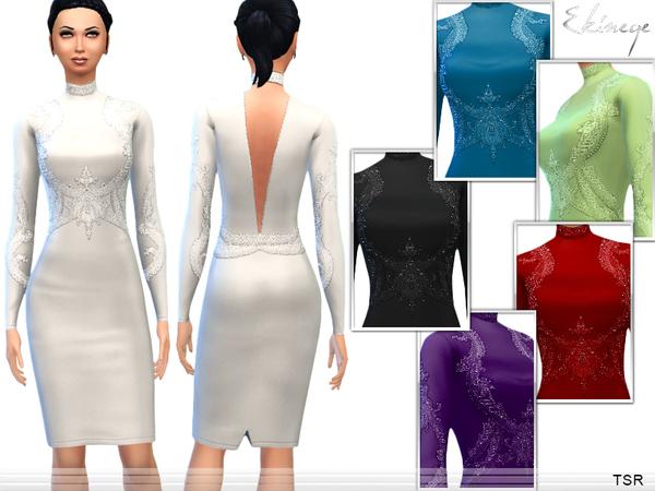 Sims 4 Long Sleeve Embellished Dress by ekinege at TSR