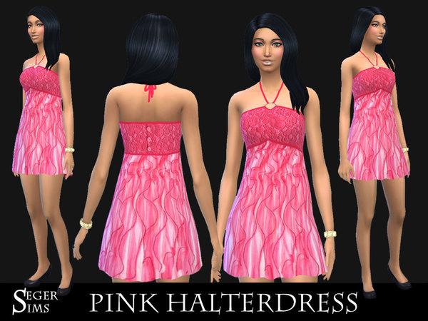 Sims 4 Pink Halter Dress by SegerSims at TSR