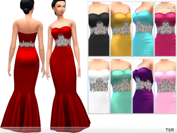 Sims 4 Embellished Waist Evening Gown by ekinege at TSR
