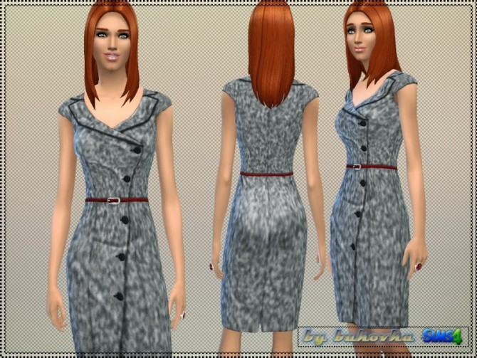 Dress Tweed asymmetrical clasp at Bukovka image 844 Sims 4 Updates