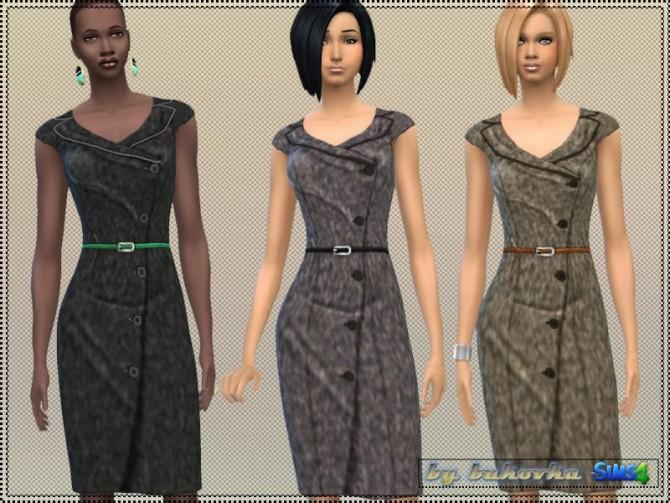Sims 4 Dress Tweed asymmetrical clasp at Bukovka