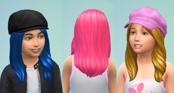 Sims 4 Long Wavy Subtle Part Hair for Girls by Kiara24 at Mod The Sims