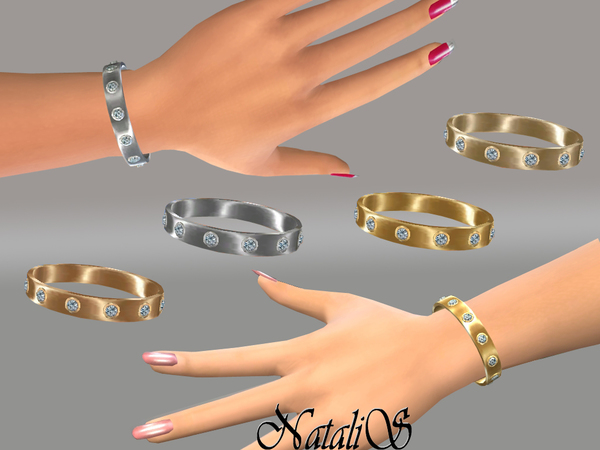 Sims 4 Metal bracelet with crystals by NataliS at TSR