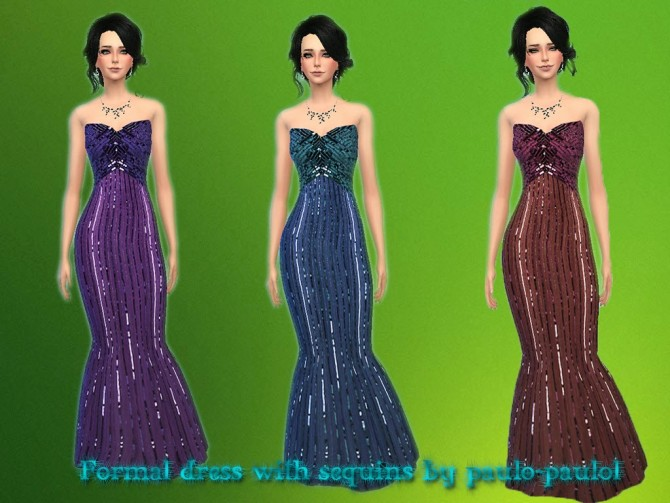 Sims 4 Formal dress with sequins at Paulo Paulol