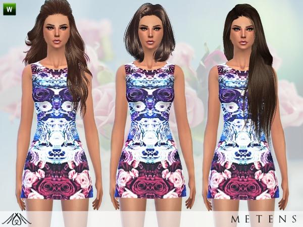 Sims 4 Eau De Rose dress by Metens at TSR