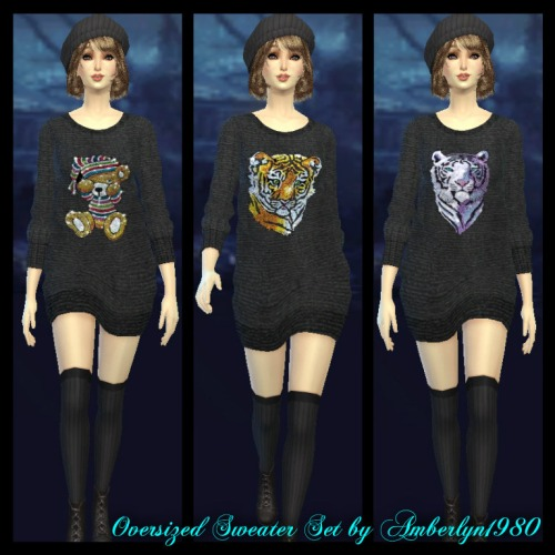 Sims 4 Oversized sweater set at Amberlyn Designs