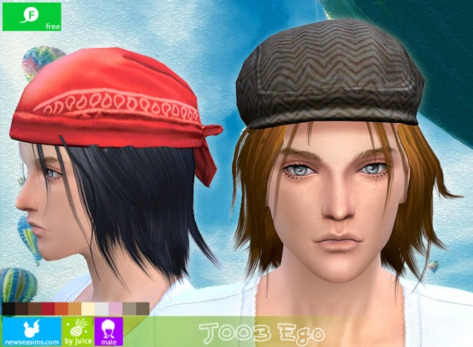 Sims 4 J003 Ego hair for males (free) at Newsea Sims 4