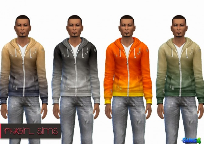 Sims 4 Faded Zip Up Hoodie at NyGirl Sims