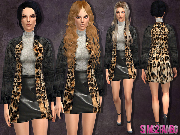 Sims 4 Dress with fur coat by sims2fanbg at TSR