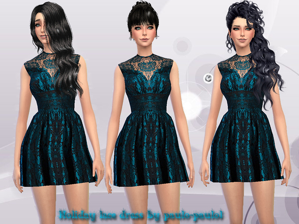 Sims 4 Holiday lace dress by paulo paulol at TSR
