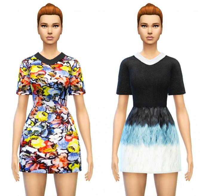 Sims 4 Collared Smock Dress at Sim4ny