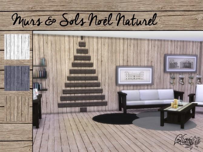 Sims 4 Christmas walls and floors narural set at Sims Artists
