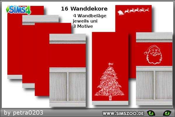 Sims 4 Xmas Red walls by petra0203 at Blacky's Sims Zoo