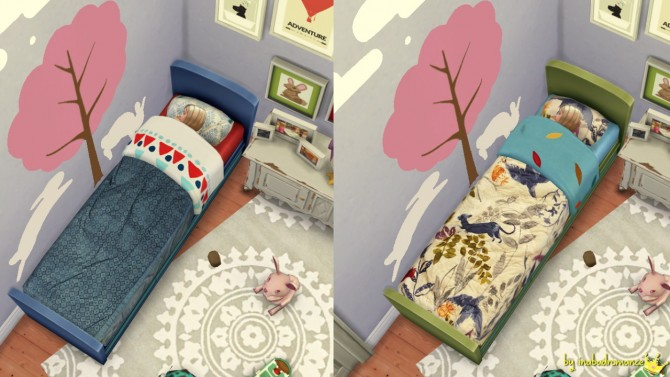 Sims 4 Non default rustic bed recolors at In a bad Romance