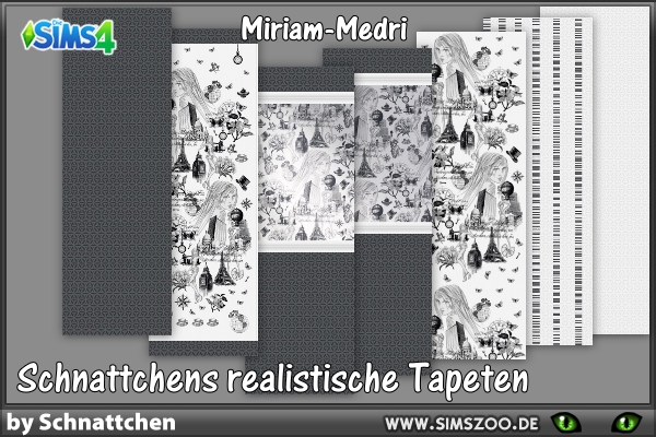 Sims 4 Black and white wallpaper by Schnattchen at Blacky's Sims Zoo