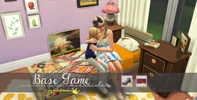 Sims 4 Mod Pod Single Bed & Magic Carpet recolors at In a bad Romance