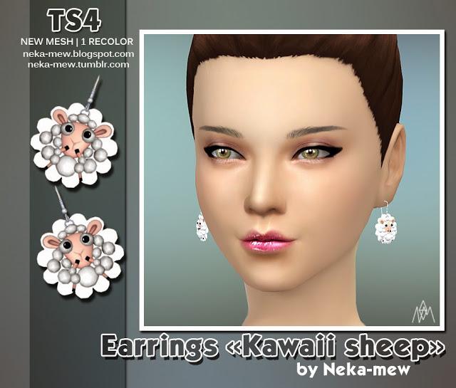 Sims 4 Kawaii sheep earrings 3T4 conversion at Neka mew